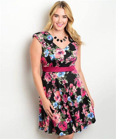 BLACK WITH PINK ROSES PLUS SIZE DRESS