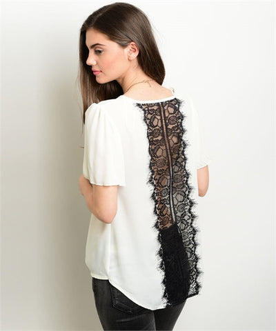 IVORY & BLACK LACE TOP