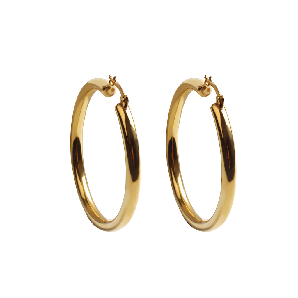 HOLLOW HOOP EARRINGS WITH GOLD VERMIEL