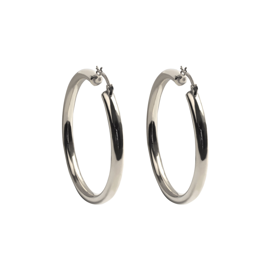 HOLLOW HOOP EARRINGS IN STERLING SILVER