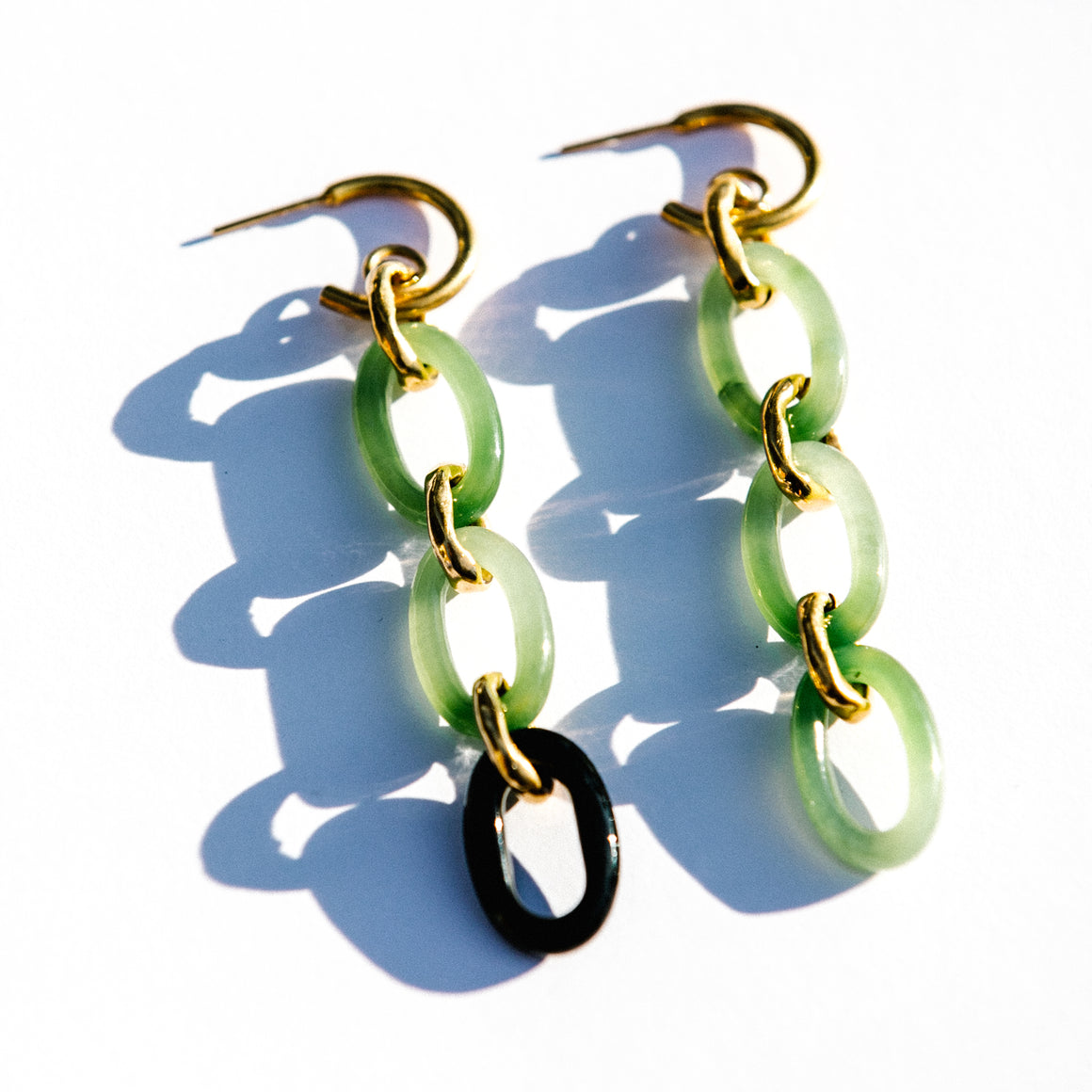 ASYMMETRICAL JADE CHAIN EARRINGS