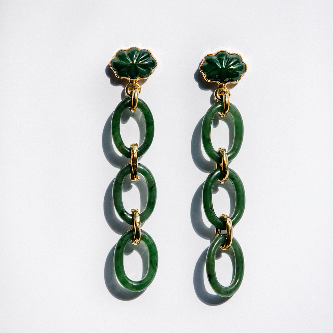 GOLD JADE CHAIN EARRINGS