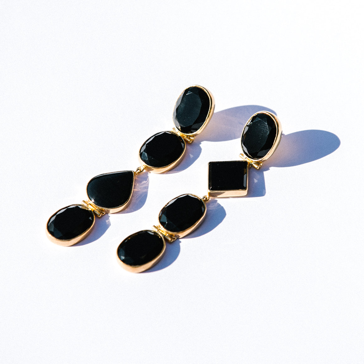 ASYMMETRICAL ONYX DROP EARRINGS