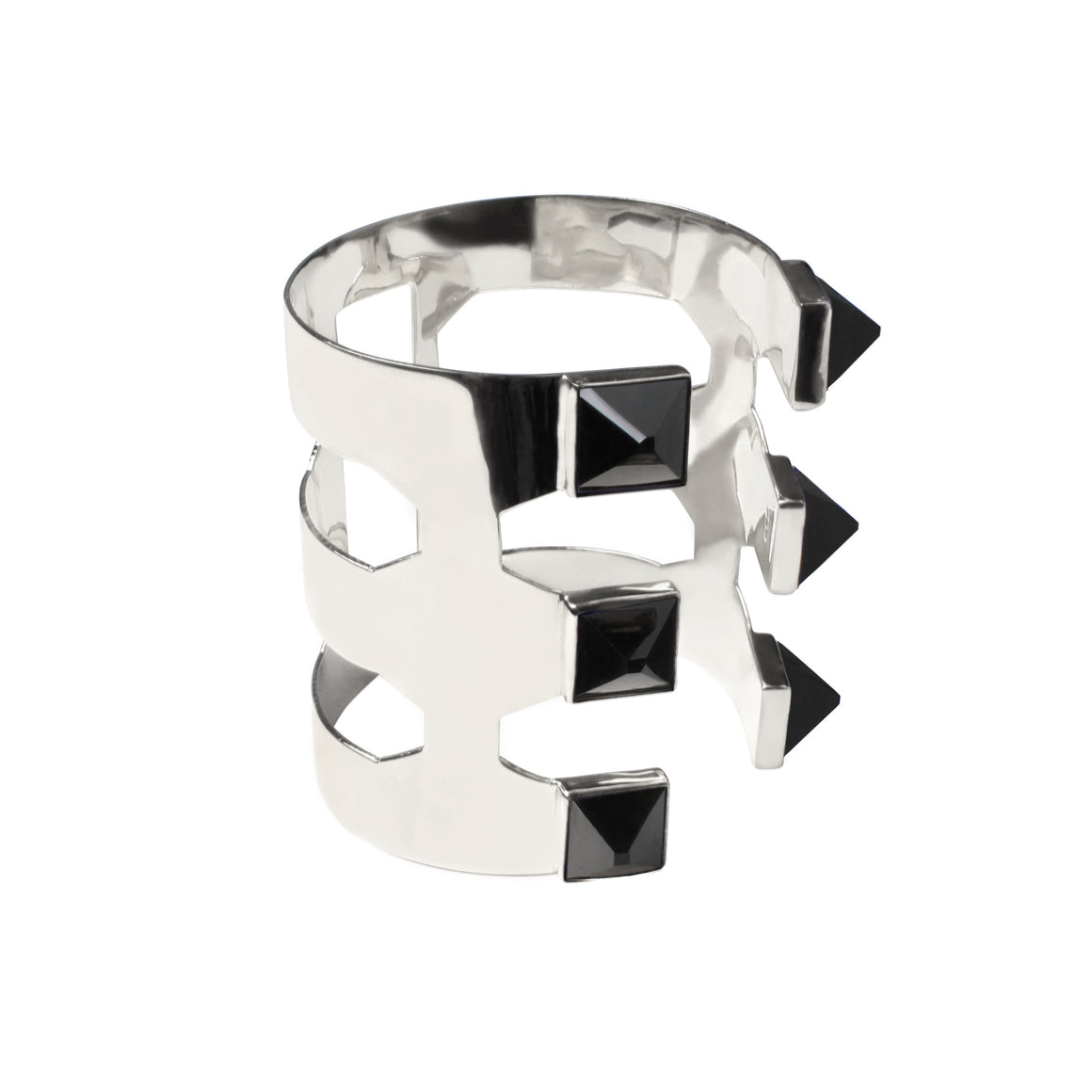 PYRAMID CUFF WITH ONYX IN SILVER
