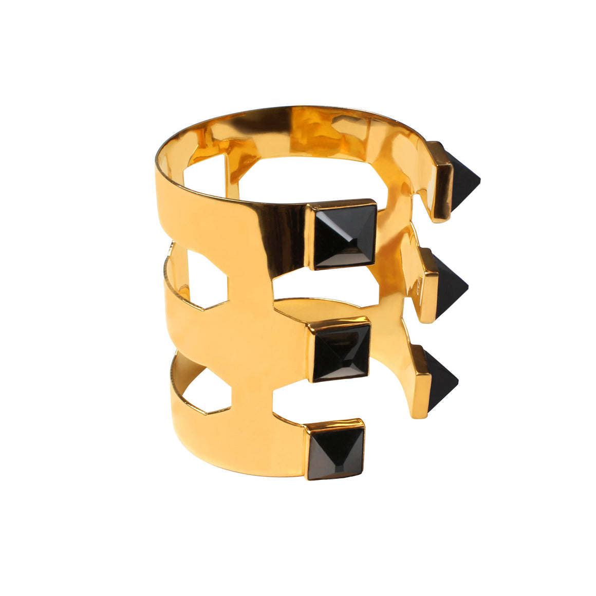 PYRAMID CUFF WITH ONYX IN GOLD