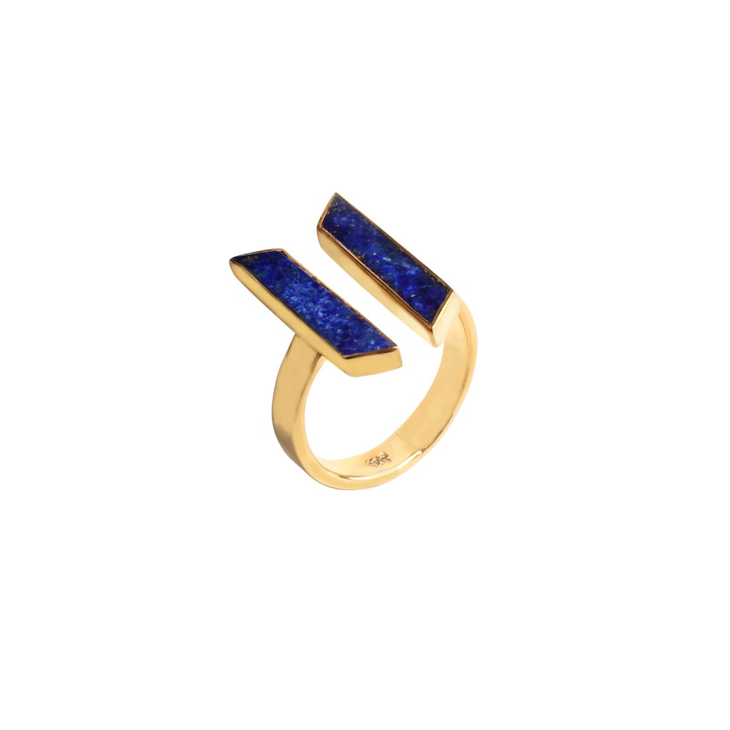 SIDE-BY-SIDE RING IN GOLD LAPIS
