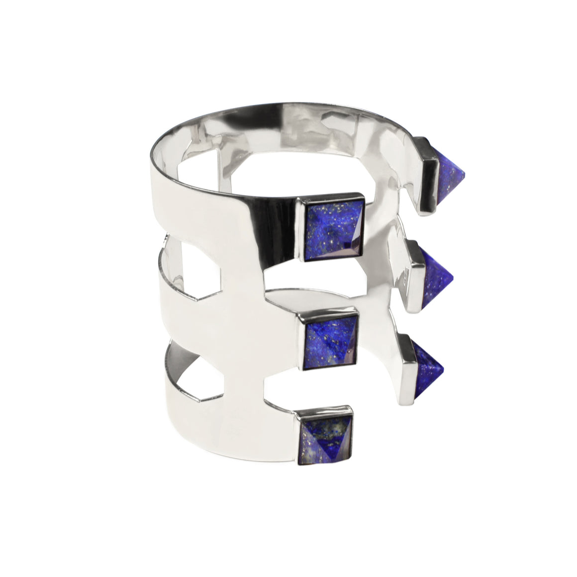 PYRAMID ADJUSTABLE CUFF WITH LAPIS STONE IN 925 STERLING SILVER