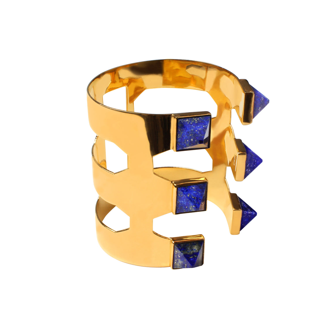 PYRAMID LAPIS CUFF IN 24K GOLD - ADJUSTABLE SIZING