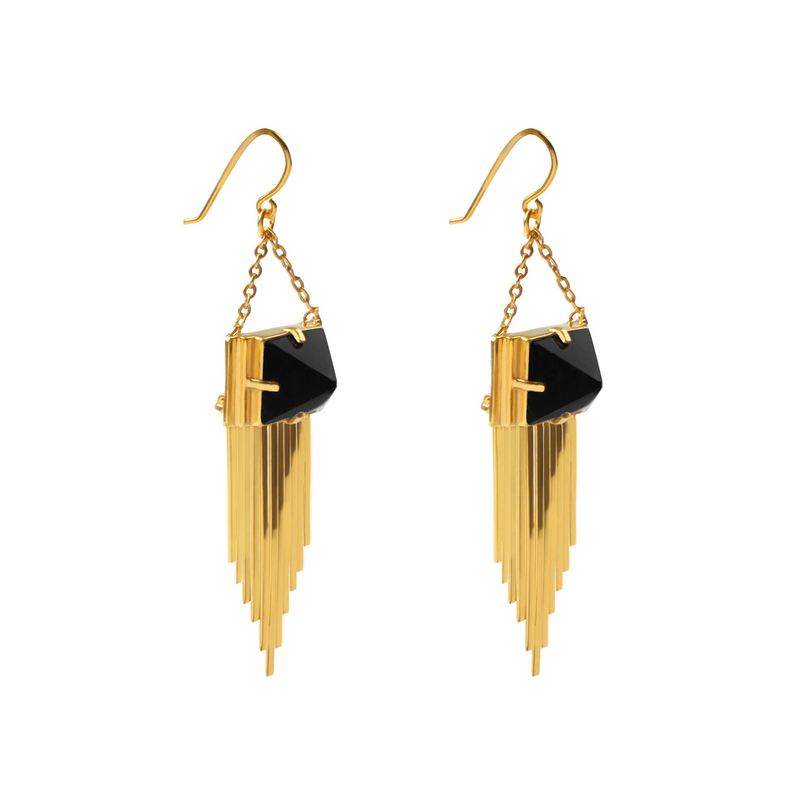 24K GOLD DANGLE EARRINGS WITH PYRAMID ONYX STONE