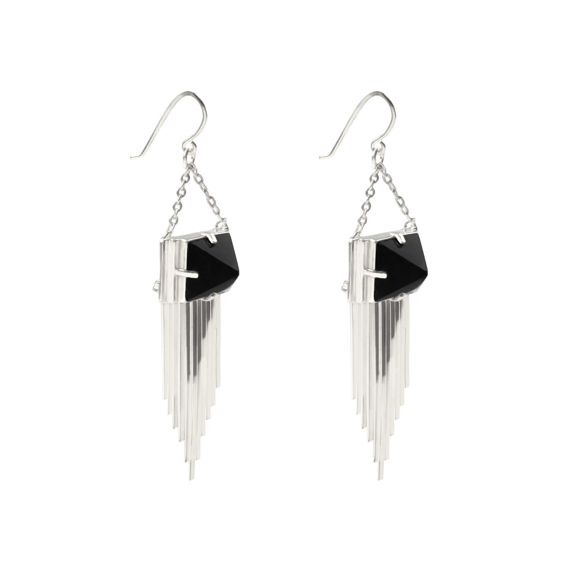 925 STERLING SILVER DANGLE EARRINGS WITH PYRAMID ONYX STONES