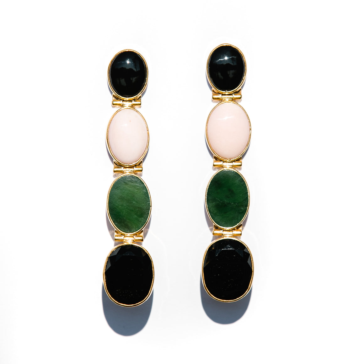 SHELL, JADE AND BLACK ONYX OVAL DROP EARRINGS