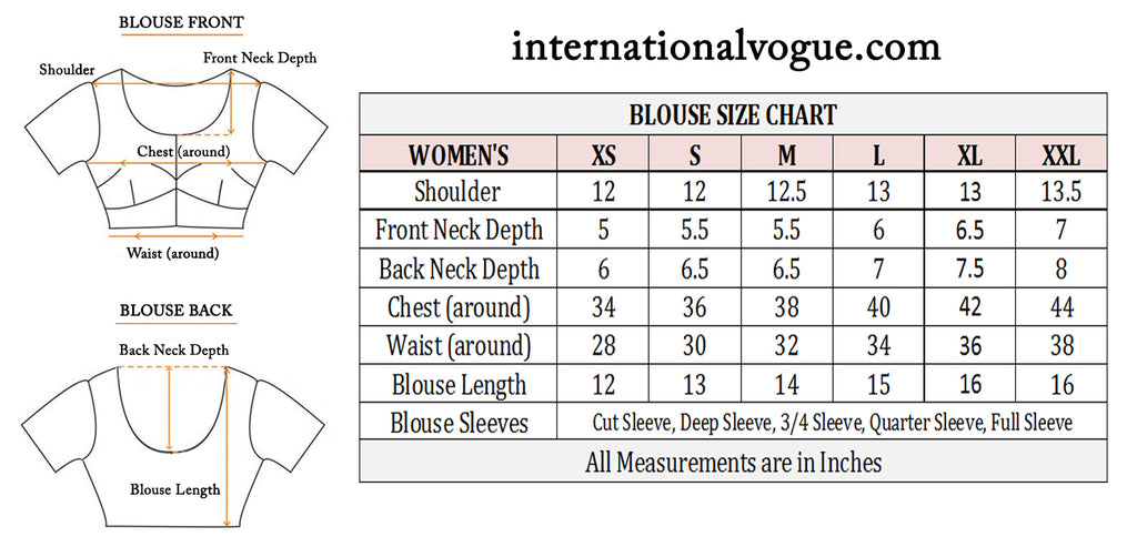 women saree blouse size chart