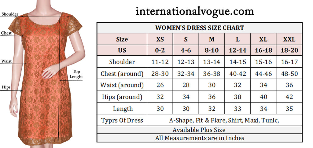Women's Dress Size Chart