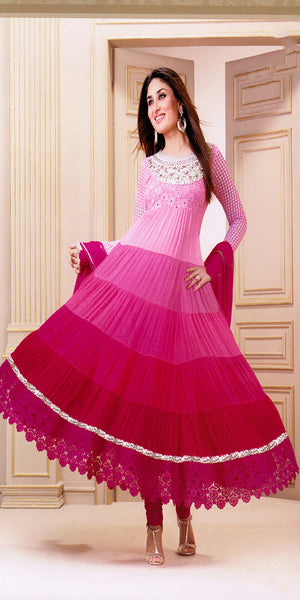 Pink & White Ombre Shaded Anaarkali Suit