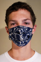 Buy comfortable & breathable cotton face masks at the best rates in USA & Canada. Blue & White Paisley Batik Print 2 layers pure 100% cotton cloth fabric elastic behind ear washable reusable double non surgical handmade fashionable designer stylish unisex nose bridge filter pocket made in usa shop online sale darpaha