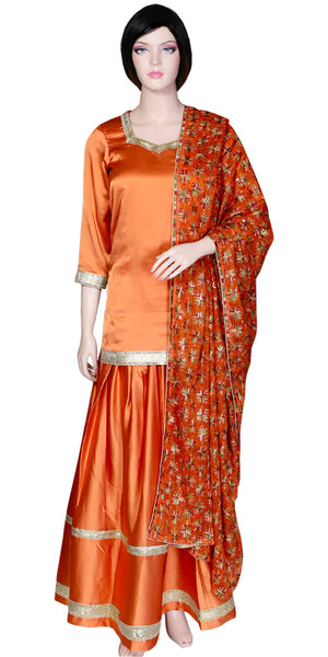Dark Orange Punjabi Ghagra with Short Banarasi Kurti