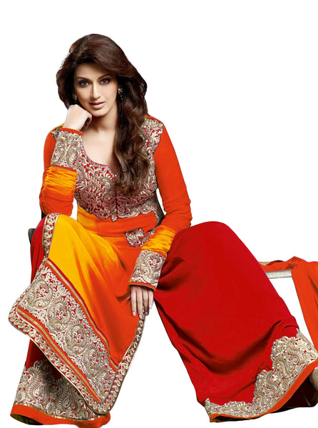Red & Yellow Bollywood Style Palazzo Suit