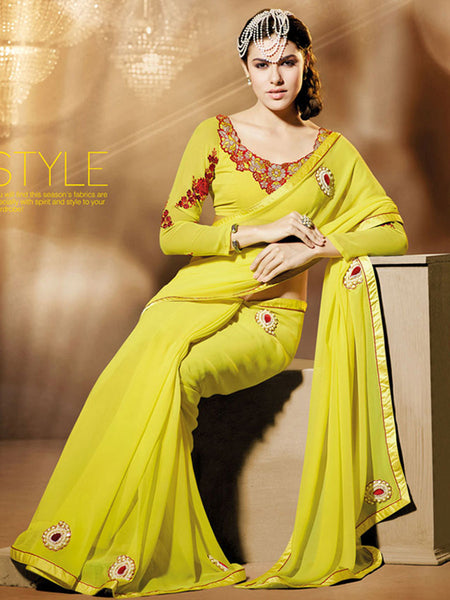 Yellow & Red Designer Saree with Blouse