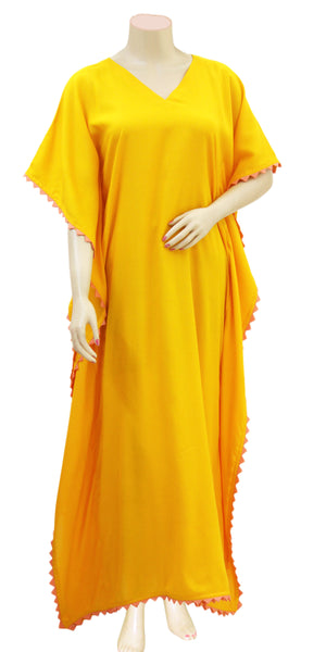 Buy designer Kaftan fashion dresses, gowns & Maxis at the best rates in the USA & Canada. Long dress in soft bright Yellow Rayon fabric. Half Sleeves, Stylized lace, Casual evening dress occasion wear Fit and Flare, A-line Dress Islamic Fashion Comfortable Solid color Kaftan Loose top Boho Hippie Shop Darpaha Sale