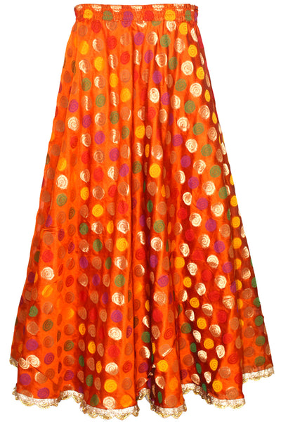 Orange Banarasi Lehenga Skirt With Border ACS21245