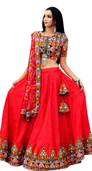 Buy designer Indian phulkari hand embroidered lehenga choli dresses at the best rates in the USA & Canada. Red Gujarati Cotton Lehanga dress heavy embroidered blouse  Chiffon Bandhani print Dupatta glace cotton skirt embroidery borders Ethnic traditional wedding party festival occasion ethnic bridesmaid Darpaha Sale