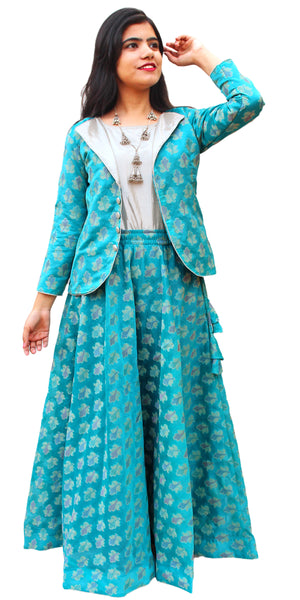 Turquoise Blue Banarasi Lehenga & Short Jacket with Inner Set