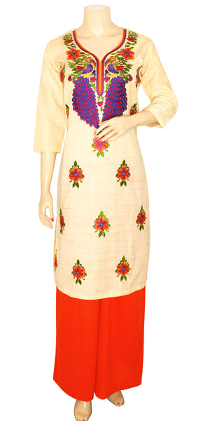 Orange & Purple Peacock Design Phulkari Palazzo Suit
