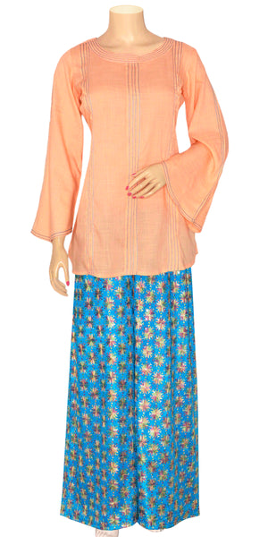 Sky blue & Peach Color Phulkari Palazzo Pants Suit