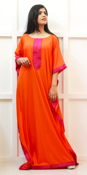 Buy designer Kaftan fashion dresses, gowns & Maxis at the best rates in the USA & Canada. Long dress in bright orange & hot pink fabric. Full Sleeves Stylized lace neck Casual evening dress occasion wear Fit and Flare, A-line Dress Islamic Fashion Comfortable Solid color Kaftan Loose top Boho Hippie Shop Darpaha Sale