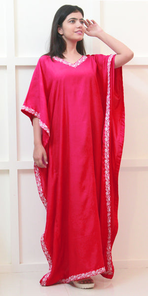 Buy designer Kaftan fashion dresses, gowns & Maxis at the best rates in the USA & Canada. Long dress in hot pink fabric. 3/4 Sleeves Stylized lace silk white embroidery neck Casual evening dress occasion wear Fit and Flare, A-line Dress Islamic Fashion Comfortable Solid color Kaftan Loose Boho Hippie Shop Darpaha Sale
