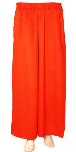 Orange Rayon Palazzo Pants/Trousers