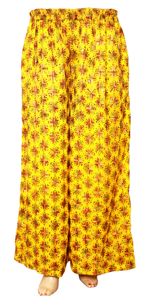 Yellow Phulkari Embroidered Wide Leg Palazzo Pants with Pocket