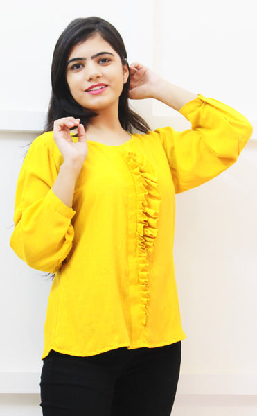 Bright Yellow Ruffles Top