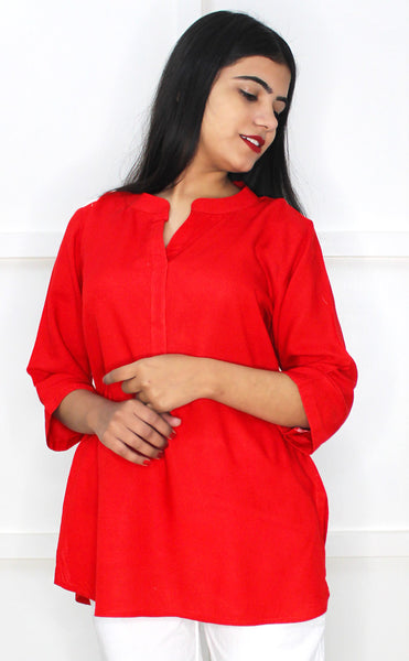Red 3/4 Sleeves Tunic/Top