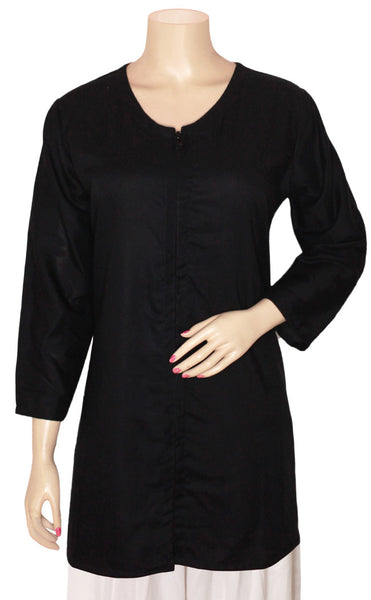 Black Rayon Zipper Jacket Kurti