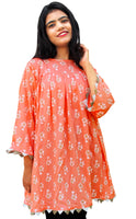 Peach Floral Print Boho Tunic/Top