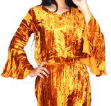 Copper Crushed Velvet Pajama Night Suit Set