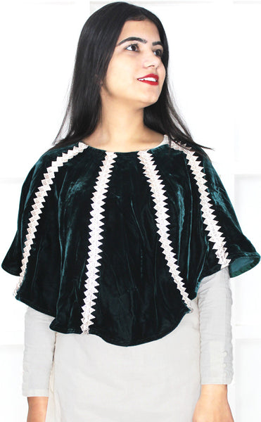 Buy designer velvet Ponchos & Wraps at the best rates in the USA & Canada. Bottle green dark shiny shimmery velvet poncho silver lace stylish modern Indian ethnic tops festivals party wear unique custom piece mexican fashion cozy warm winter for women gifts for her affordable minimalistic BOHO Bohemian Darpaha Sale
