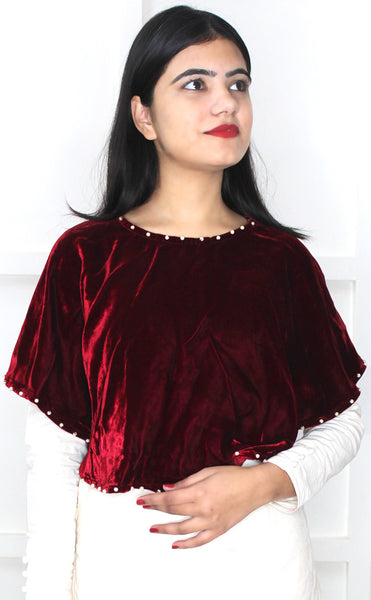 Buy designer velvet Ponchos & Wraps at the best rates in the USA & Canada. Maroon Wine Plum dark red shiny shimmery velvet poncho white pearl work stylish modern Indian ethnic crop top festival party wear piece mexican fashion cozy warm winter for women gifts for her affordable minimalistic BOHO Bohemian Darpaha Sale