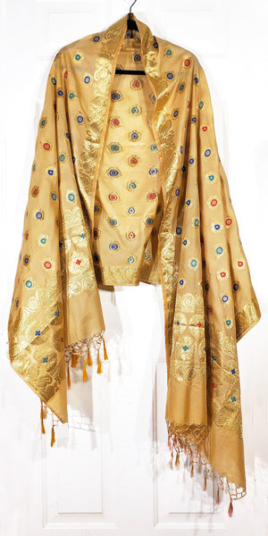 Shop online for designer Indian Banarasi dupattas at the best rates in USA & Canada. Golden Art Silk dupatta shawl multicolor zari work embroidery Chanderi tassels Ethnic Indian traditional wedding party festival fashion suit wrap accessories handloom elegant handwork trendy anniversary gift cheap design buy Darpaha