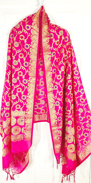 Shop online for designer Indian Banarasi dupattas at the best rates in USA & Canada. Magenta Pink Art Jacquard Silk supatta golden zari work embroidery Chanderi  Ethnic Indian traditional wedding party festival fashion suit wrap accessories handloom elegant handwork trendy anniversary design stylish shop