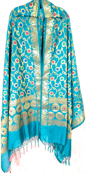 Shop online for designer Indian Banarasi dupattas at the best rates in USA & Canada. Blue Art Silk dupatta shawl multicolor zari work embroidery Chanderi tassels Ethnic Indian traditional wedding party festival fashion suit wrap accessories handloom elegant handwork trendy anniversary gift cheap design buy Darpaha