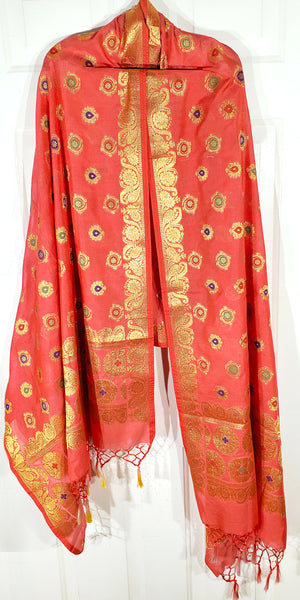 Shop online for designer Indian Banarasi dupattas at the best rates in USA & Canada. Coral Red Peach Orange Art Jacquard Silk supatta golden zari work embroidery Chanderi  Ethnic Indian traditional wedding party festival fashion wrap accessories handloom elegant handwork trendy anniversary design stylish buy Darpaha