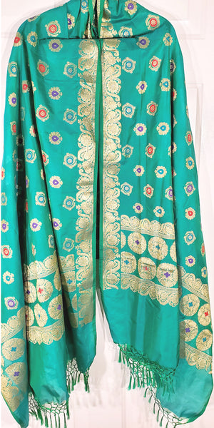 Shop online for designer Indian Banarasi dupattas at the best rates in USA & Canada. Turquoise Art Jacquard Silk dupatta golden zari work embroidery Chanderi  Ethnic Indian traditional wedding party festival fashion suit wrap accessories handloom elegant handwork trendy anniversary design stylish shop online Darpaha