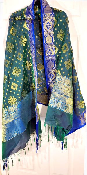 Shop online for designer Indian Banarasi dupattas at the best rates in USA & Canada. Art Silk dupatta shawl multicolor zari work embroidery Chanderi  Ethnic Indian traditional wedding party festival fashion suit wrap accessories handloom elegant handwork trendy anniversary gift cheap design stylish buy Darpaha