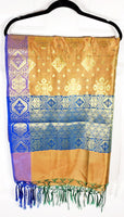 Shop online for designer Indian Banarasi dupattas at the best rates in USA & Canada. Golden, Purple Blue Art Silk dupatta shawl multicolor zari work embroidery Chanderi  Ethnic Indian traditional wedding party festival fashion suit wrap accessories handloom elegant handwork trendy anniversary gift cheap design stylish buy Darpaha