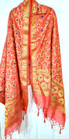 Shop online for designer Indian Banarasi dupattas at the best rates in USA & Canada. Peach Golden Art Jacquard Silk supatta golden zari work embroidery Chanderi  Ethnic Indian traditional wedding party festival fashion suit wrap accessories handloom elegant handwork trendy anniversary design stylish shop online Darpaha