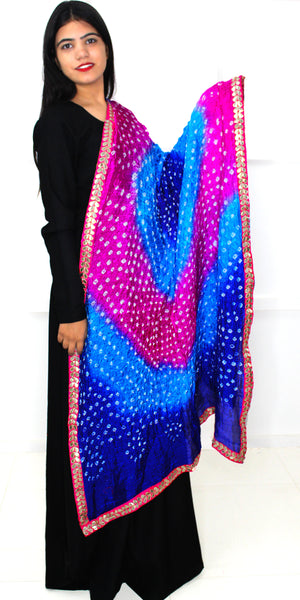 Buy designer Jaipuri Bandhani dupattas, stoles & chunnis at the best rates in the USA & Canada. Bright Multicolor dupatta tie & dye golden gotta-kinari border. Ethnic Indian traditional wedding party festival fashion suit wrap Rajasthani handloom light elegant handwork trendy anniversary design stylish shop online