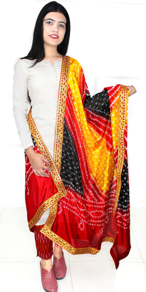 Buy designer Jaipuri Bandhani dupattas, stoles & chunnis at the best rates in the USA & Canada. Bright Multicolor Art silk dupatta tie & dye golden gotta-kinari border. Ethnic Indian traditional wedding party festival fashion suit wrap Rajasthani handloom light elegant handwork trendy anniversary design stylish online