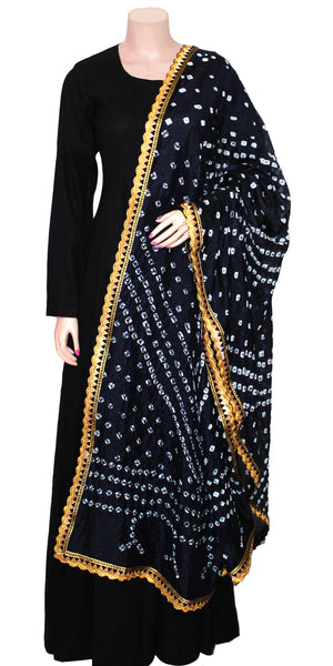 Buy designer Jaipuri Bandhani dupattas, stoles & chunnis at the best rates in the USA & Canada. Dark Blue Art silk dupatta tie & dye gotta kinari border. Rajasthani Ethnic Indian traditional wedding party festival fashion suit wrap accessories handloom light elegant handwork trendy anniversary design stylish shop online